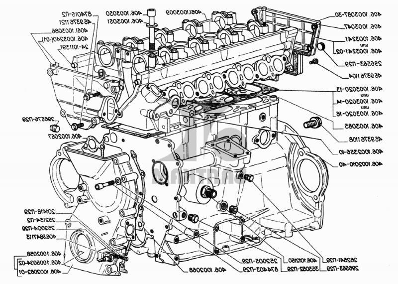 Схема двигателя 402 волга