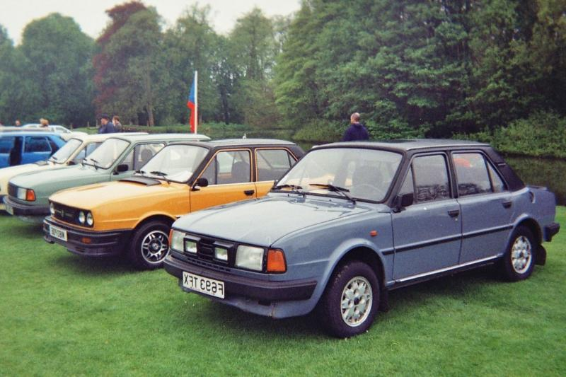 Line-up of Skoda Estelles at the Wartburg/Trabant/IFA Club UK Rally...